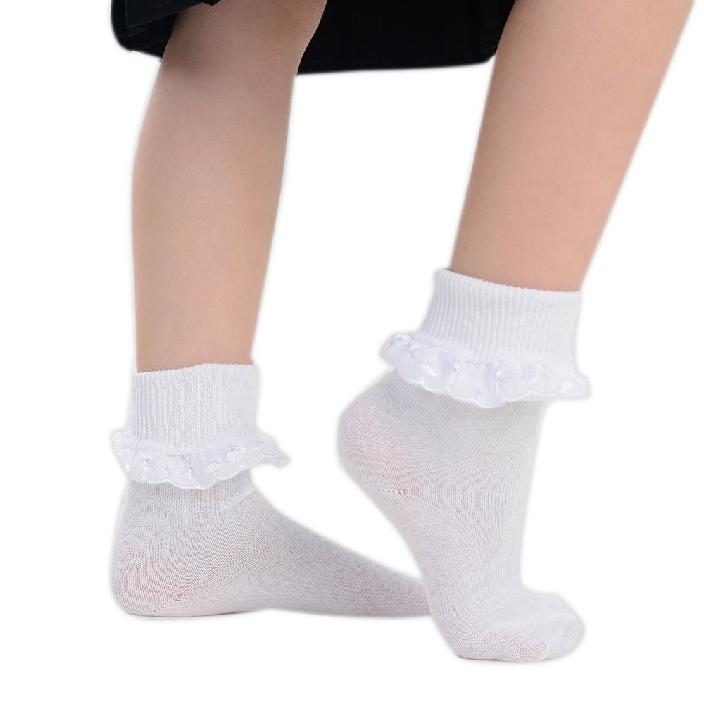 3 Pairs Girls White Frilly Embroidered Lace Top Cotton Ankle Socks Various Sizes Available School Flower Girl Party (UK 4-6) Frilly socks