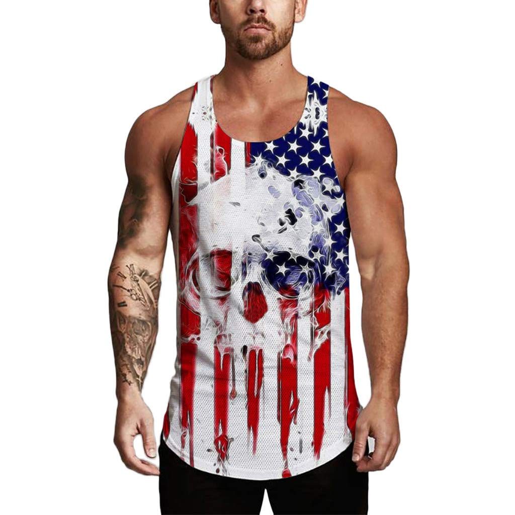 Respctful✿Men's Tank Top USA American Flag Casual Sleeveless Tee Shirt Vintage 4th July Patriotic American Party Tanks White