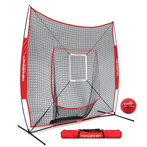PowerNet DLX 7x7 Baseball Softball Hitting Net + Weighted Heavy Ball + Strike Zone Bundle (Red) | Training Set | Practice Equipment Batting Soft Toss Pitching | Team Color | Portable Backstop (Top 10 Home Run Hitters Of All Time)
