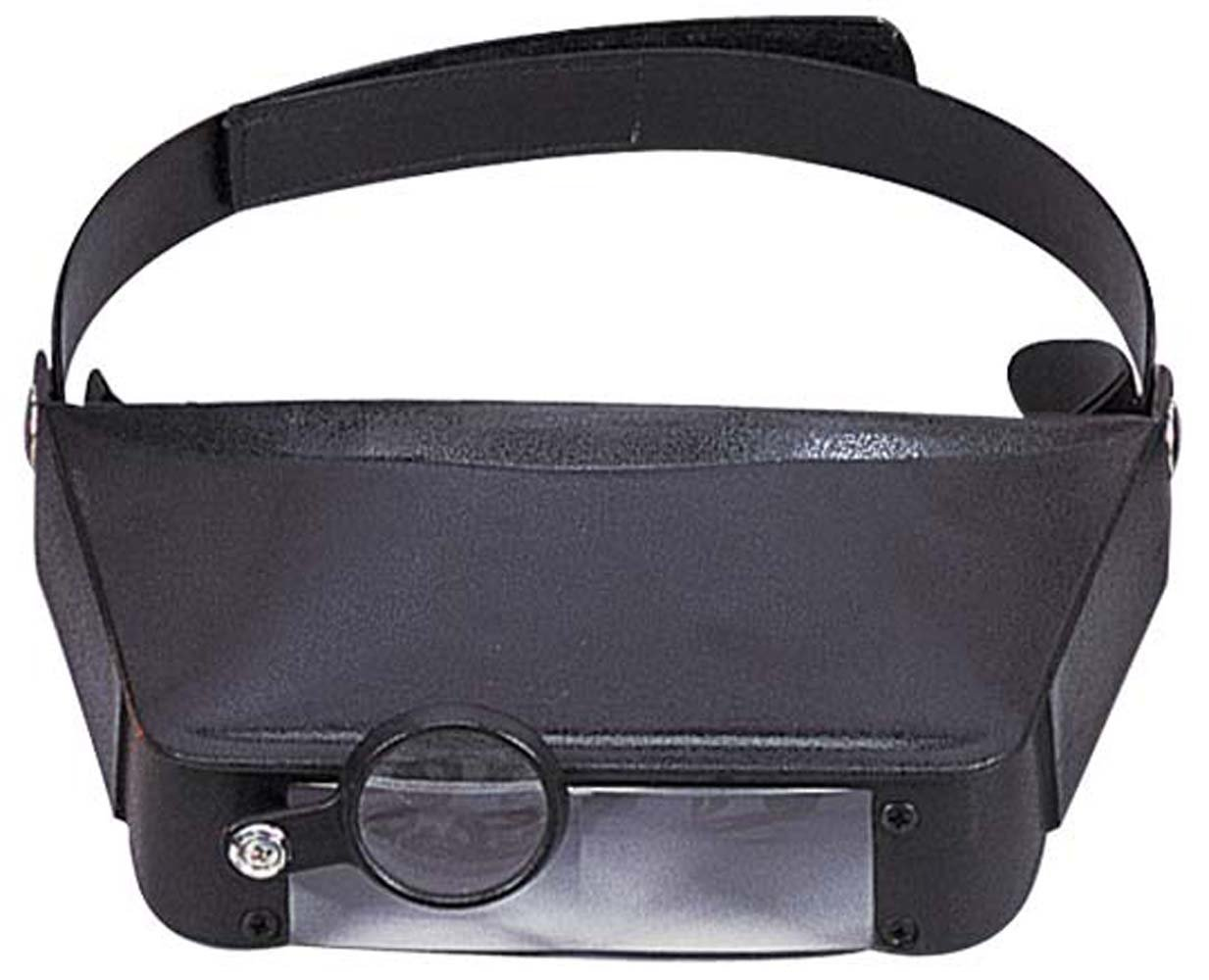 ToolUSA Black Head Worn Magnifier With Adjustable Strap and 3 Levels Of Power: 1.8x, 2.3x, And 4.1x: MG-91216