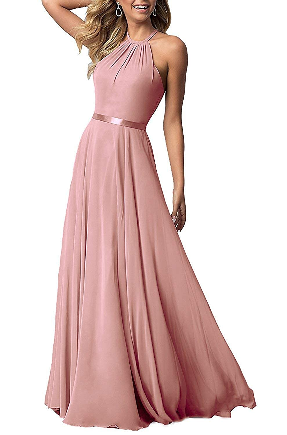 bluesh Pink ROMOO Sexy Halter Long Bridesmaid Dresses Open Back Aline Formal Evening Party Gowns