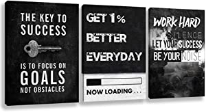 Inspirational Wall Art Canvas Hustle Poster Success Goal Artwork Entrepreneur Quote Painting Motivational Office Wall Decor Art for Bedroom Living Room Home Decoration Framed 12inch x16inch x3pieces