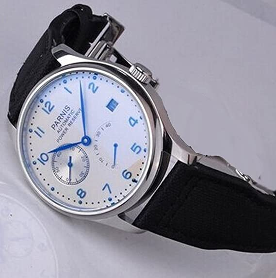 Amazon.com: Parnis TOP GUN Watch Power Reserve Automatic White Dial Mens Pilots Watches P111607: Watches