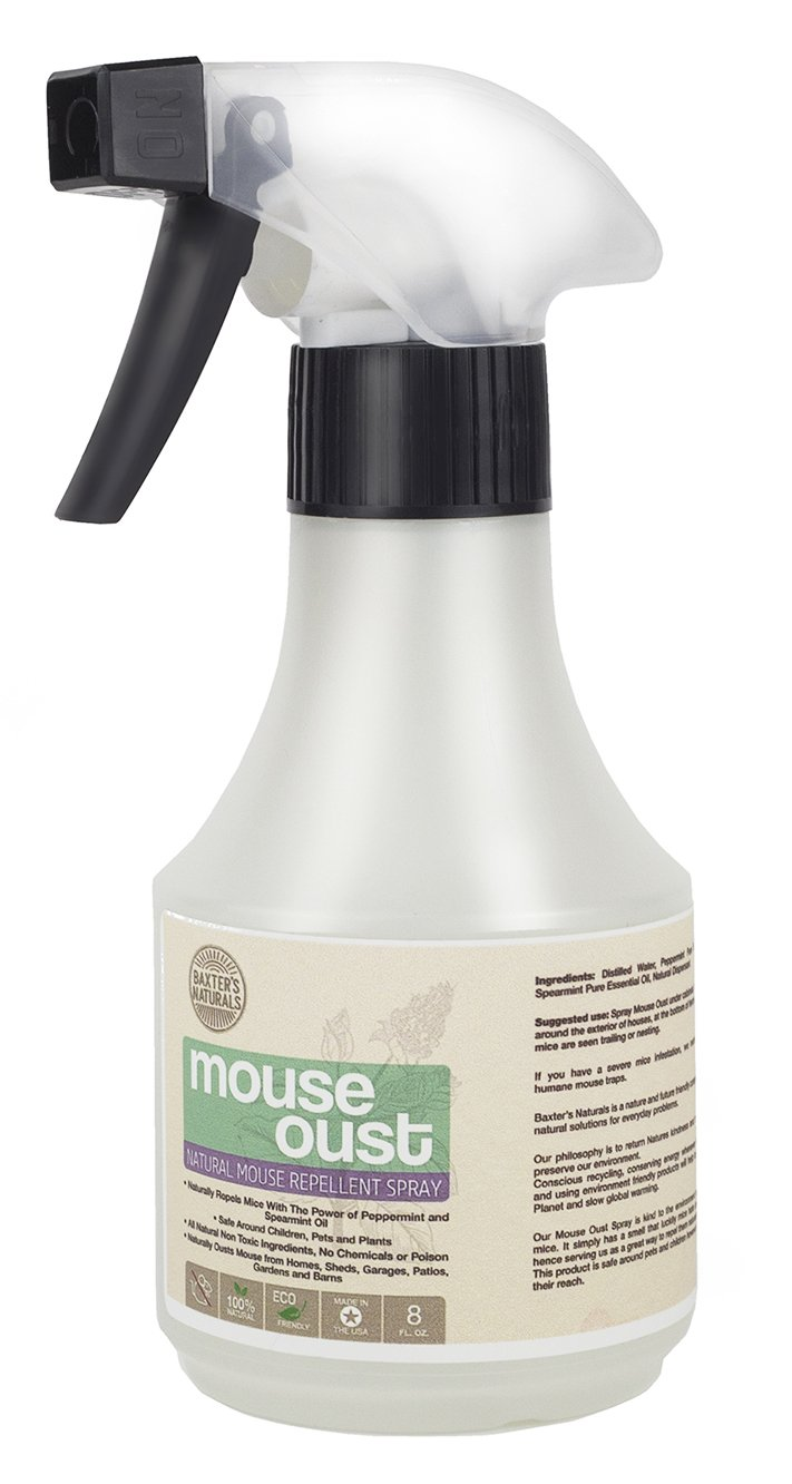 Peppermint Oil for Mice Spray - Natural Mice Repellent in Concentrated 8oz Formula - Humane Mouse Control - Spearmint And Peppermint Oil Spray - Safe For Pets and Children - No Chemicals or Poison by Baxter's Naturals