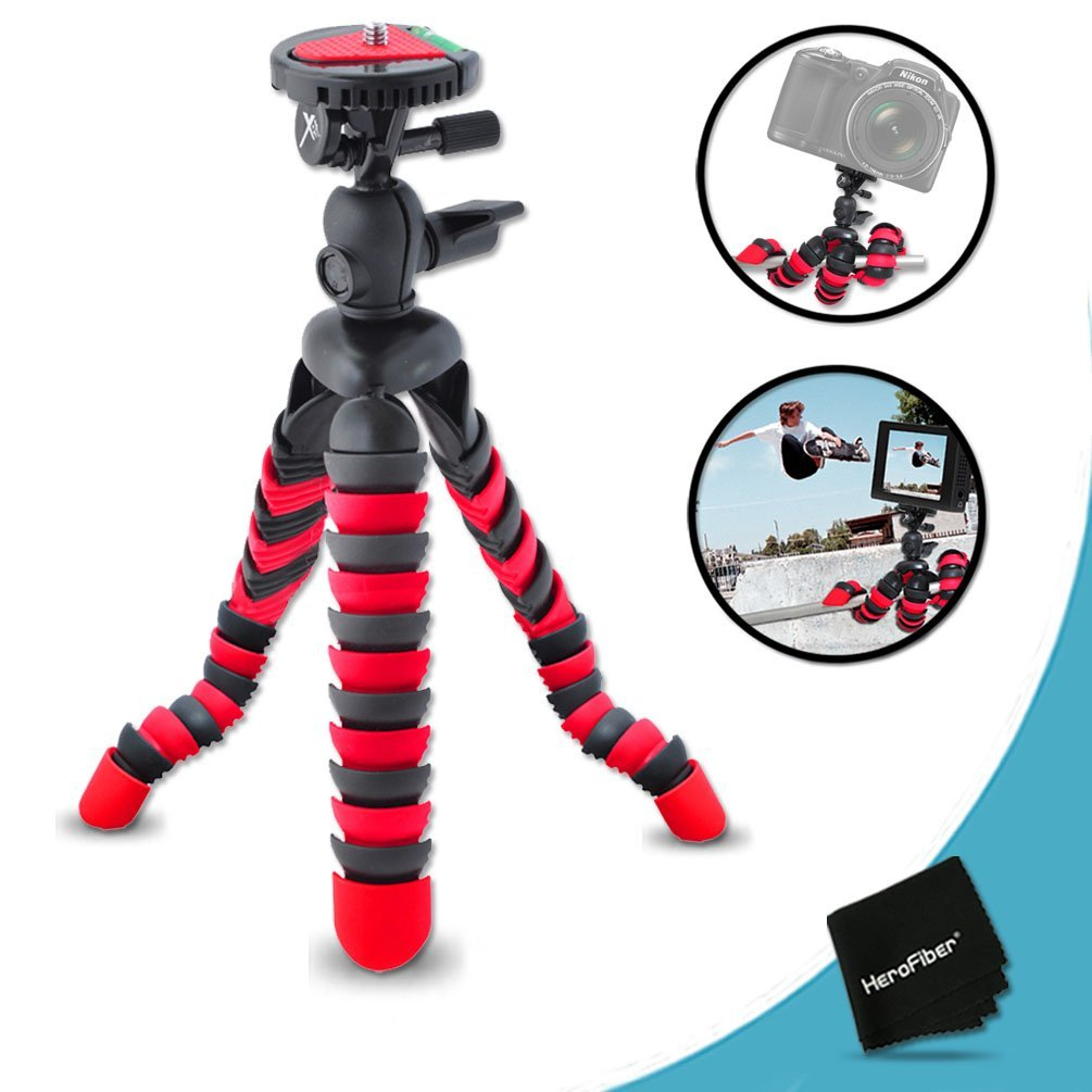"12"" Inch Flexible Tripod with Quick Release Plate for Nikon Coolpix S6800, S6500, S6400, S6300, S6200, S6150, S6100, S6000, S1200pj, S1100pj, S1000pj, S800c, S640, S630, S620, S610, S610c, S70, S31, S710, P330, P310, P3"