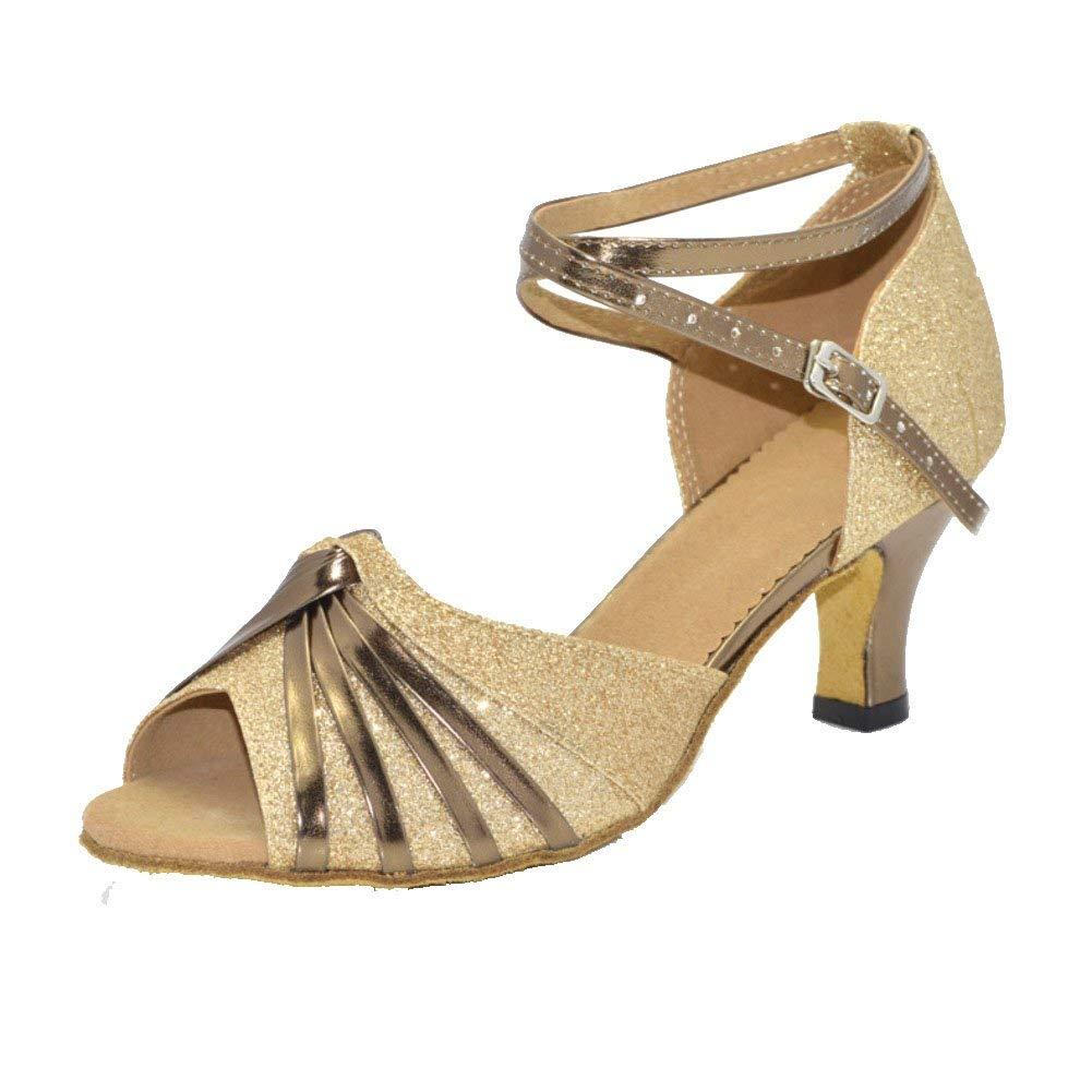 ZHRUI Latin Dance Schuhe für Damen Modern Modern Modern Dance Schuhe Tanzschuhe High Heel Sandal (Farbe   Golden Größe   Foot Length=22.8CM9Inch) 80edae