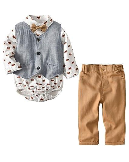 Conjunto de Cuatro Piezas para Bebé Niño Ropa Gentleman Camisa de ...