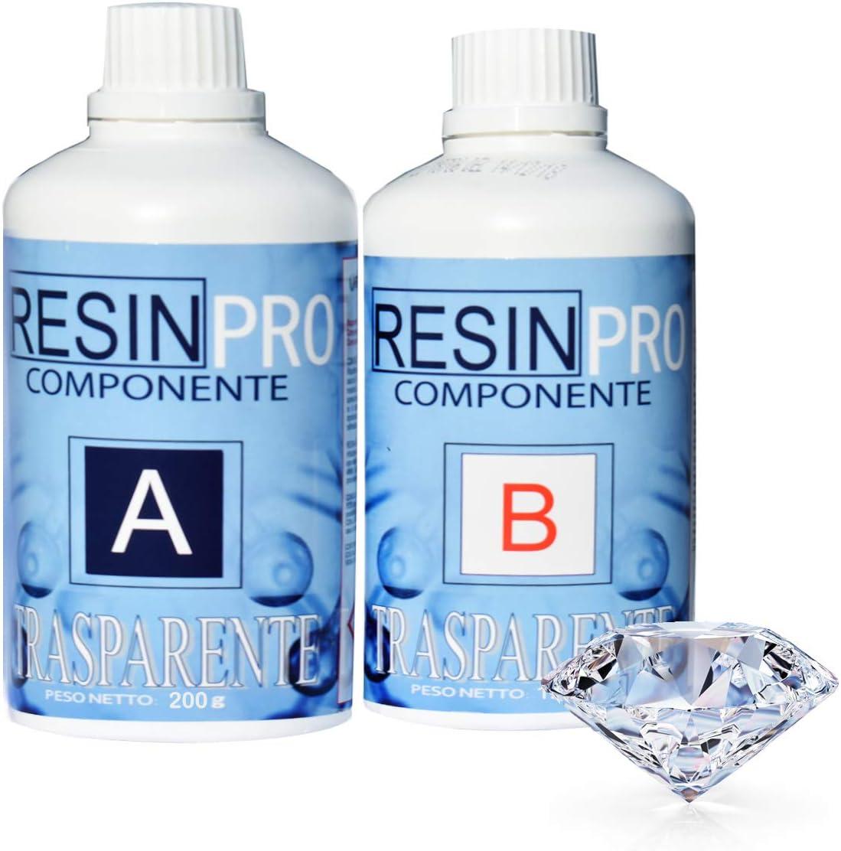 Resin Pro GR 320 Resina epoxi ultra transparente, dos componentes, efecto agua, para la fabricación de joyas de resina