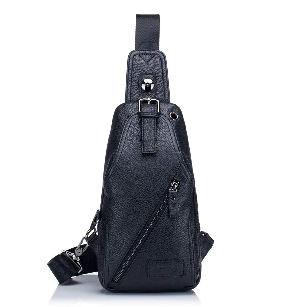 Color : Black, Size : M XINXI-MAO Mens Chest Bag Leather One Shoulder Slung Casual Leather Chest Bag
