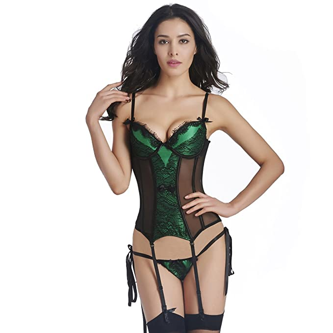 908aa361c0dd9 New Sexy Push-up Bra Corset Lingerie Top with Garters Adjustable Straps  Black and Green