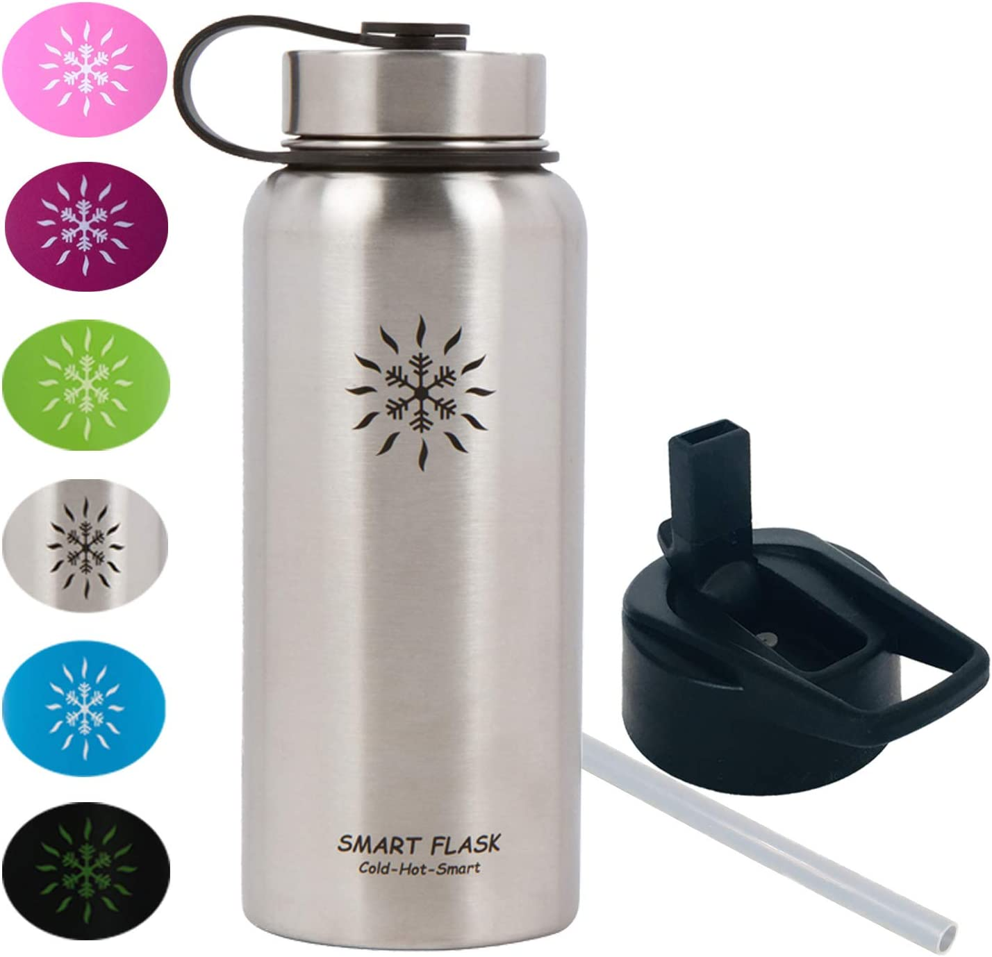 32oz Stainless Steel, Wide Mouth, Vacuum Insulated, Double Walled Water Bottle, Includes Leakproof Travel Lid and Easy Carry Straw Cap