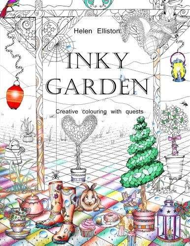 Inky Garden: Creative colouring with quests & 3D paper flower (Inky Colouring books) (Volume 2) (Inky Quest)