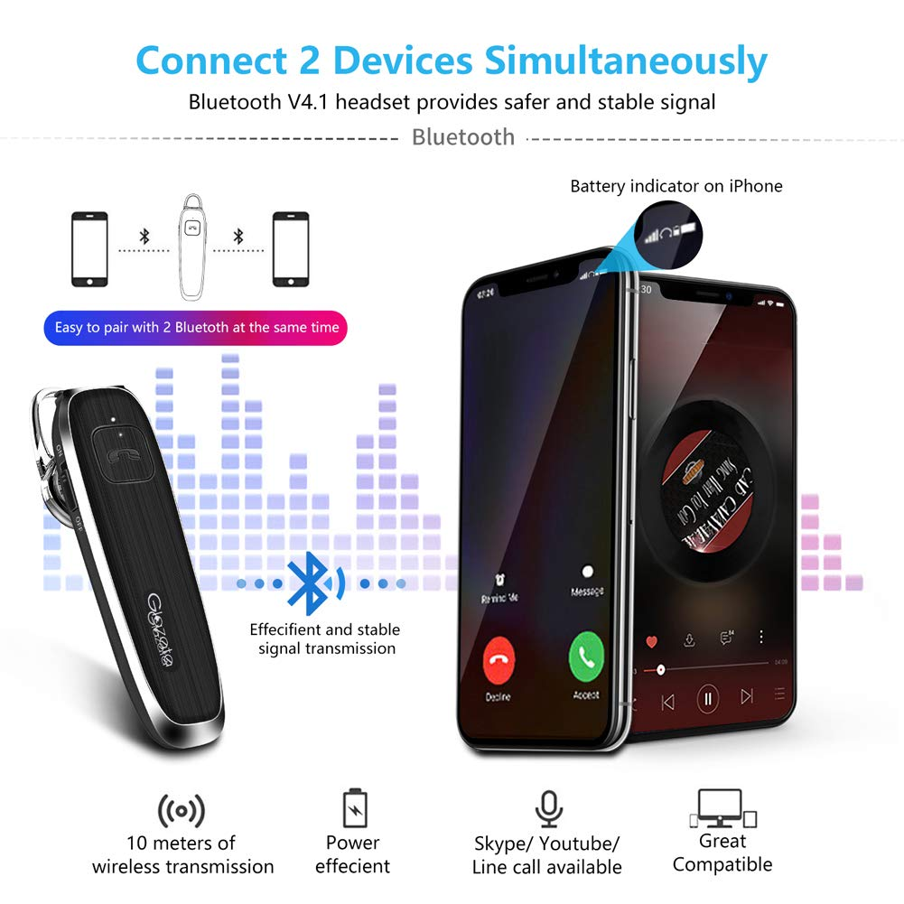 eff178b6b87 Amazon.com: Glazata Bluetooth Earpiece, Wireless Waterproof Earbuds with  28-Hrs Playback, in Ear Bluetooth Headset Hands-Free for Cell Phone/Tablet,  ...