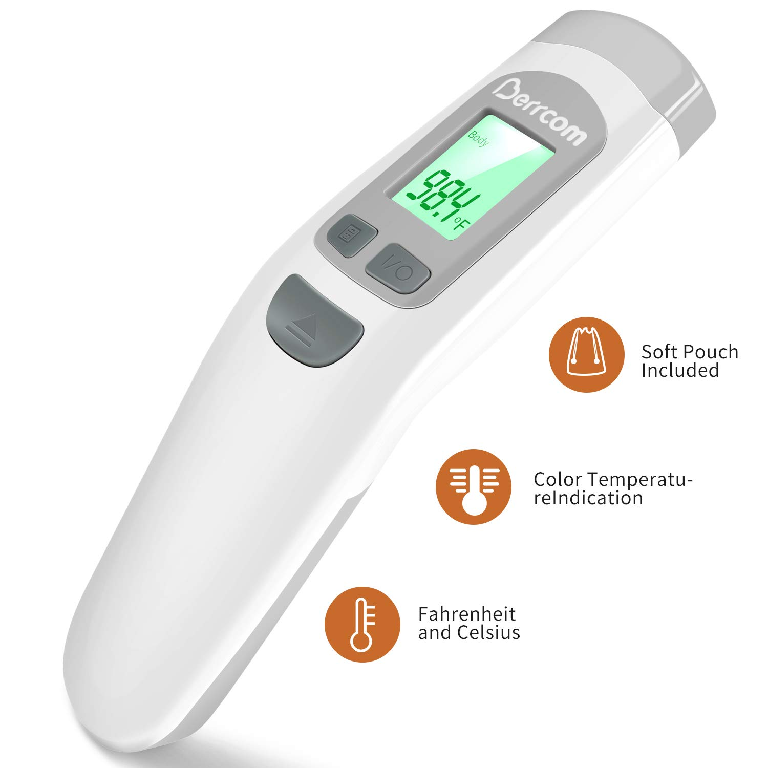 Baby Infrared Forehead Thermometer, FDA Approved Medical Grade Non Contact Thermometer for Kids, Infants,Toddlers, Child, Adults, Nurses. Cold, Flu, Fever Thermometer by Berrcom