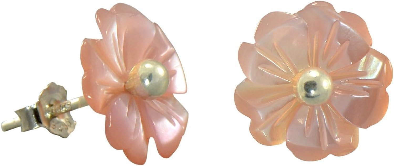 Pendientes de plata de ley con forma de flor de plumeria de la madre de la perla de 1,27 x 1,27 cm