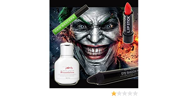 ... Joker MakeUp Set Of 4 - Miss Pouty White Liquid Foundation, Stargazer Red Lipstick, Stargazer Black Eye Shadow Pen And Stargazer Green Hair Mascara ...