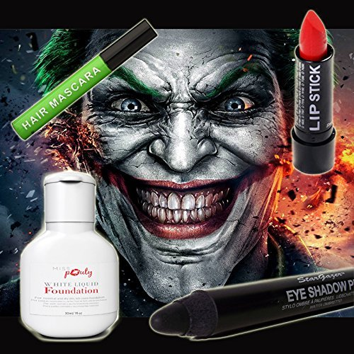 Halloween Joker MakeUp Set Of 4 - Miss Pouty White Liquid Foundation, Stargazer Red Lipstick, Stargazer Black Eye Shadow Pen And Stargazer Green Hair Mascara - Suitable for Adults and Kids -