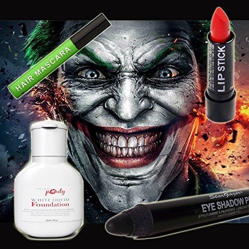 Halloween Joker MakeUp Set Of 4 - Miss Pouty White Liquid Foundation, Stargazer Red Lipstick, Stargazer Black Eye Shadow Pen And Stargazer Green Hair Mascara - Suitable for Adults and (White Halloween Makeup Uk)