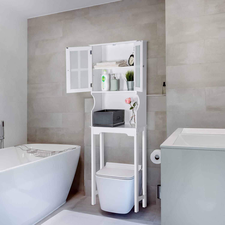 Kinbor Bathroom Spacesaver Over The Toilet, Double Door Bathroom Cabinet Organizer Shelf, Bathroom Storage Space Saver, White by Kinbor