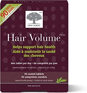 New Nordic Hair Volume Tablets | Biopectin Apple Extract for Naturally Healthy and Full Hair | Swedish Made | 90 Count (Pack of 3)