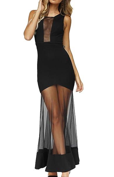 OUFour Verano Mujeres Sin Mangas Vestido Perspectiva Tul Costura Largo Vestido Sexy Paquete de Cadera Vestidos de Cóctel Partido Fiesta: Amazon.es: Ropa y ...
