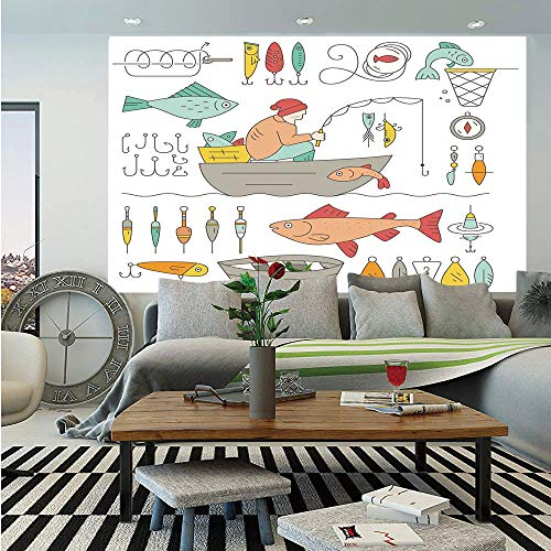 Catchers Gear Locker - SoSung Nautical Decor Huge Photo Wall Mural,Fishing Gear Fisherman in The Boat Catching Fish Rod Bobber Tackle Hook Clip Work,Self-Adhesive Large Wallpaper for Home Decor 100x144 inches,