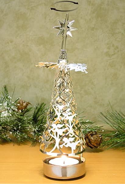 amazon com spinning christmas tree candle holder with angels