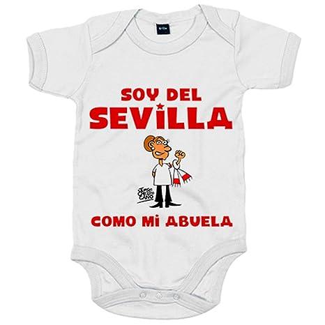 Body bebé soy del Sevilla como mi abuela Jorge Crespo Cano - Blanco, 6-