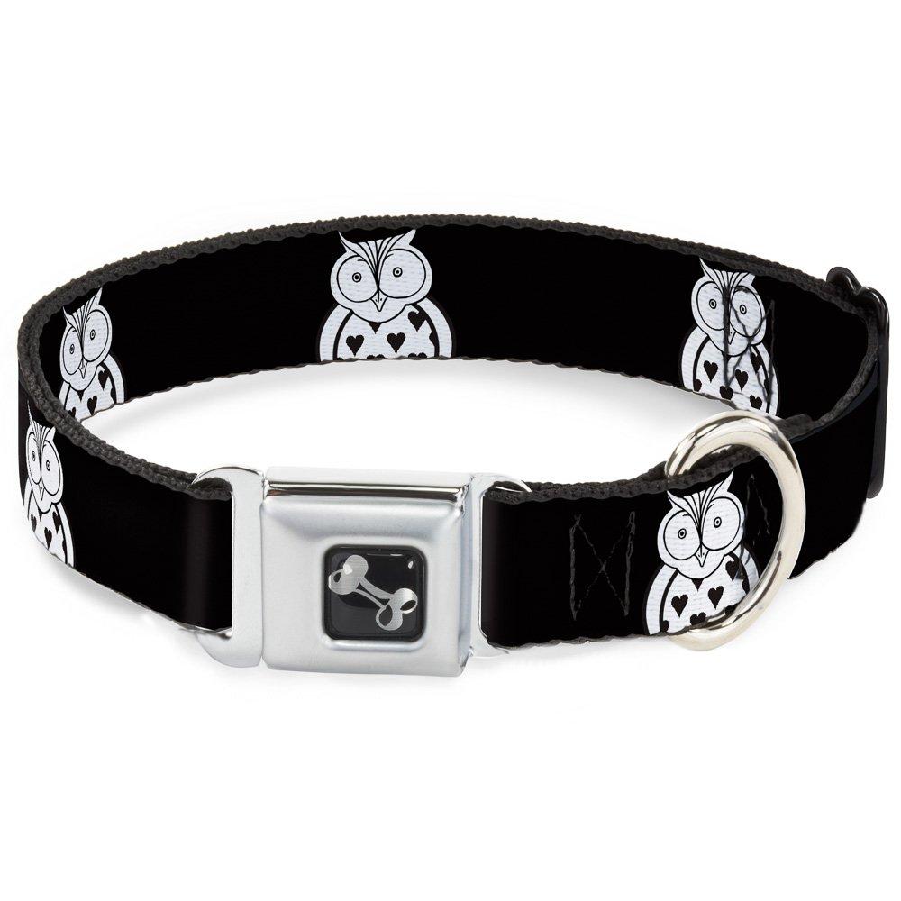 Buckle-Down 11-17  Owls Black White1 Dog Collar Bone, Medium