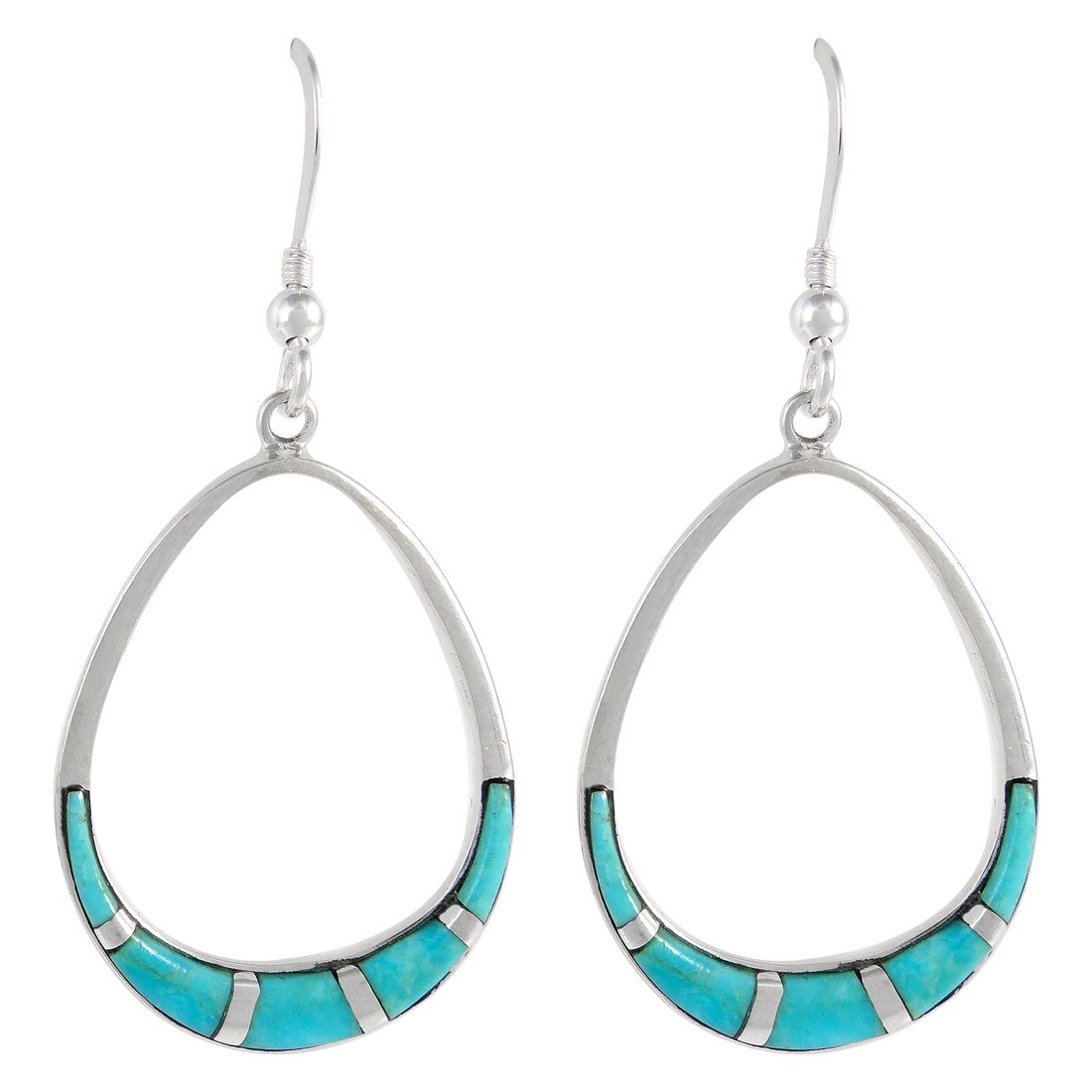 925 Sterling Silver Earrings Genuine Turquoise Pear-Shape Drop Dangles by Turquoise Network (Image #1)
