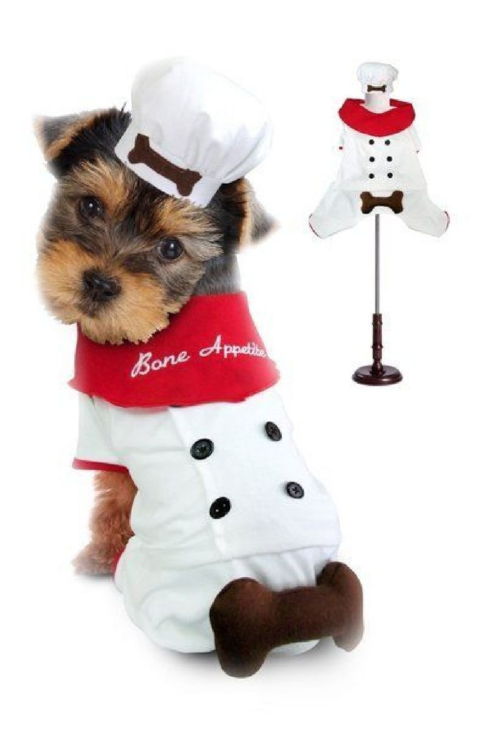 Chef Uniform Costume For Dogs ''Bone Appetite'' Red Scarf Cook 3D Bone Attached