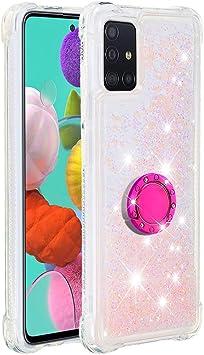 Funda Samsung Galaxy A51 TPU Silicona Purpurina Carcasa,Funda para teléfono móvil de Arena movediza líquida en con Base de Anillo de Diamantes (Estrellas Rosas Fluorescentes): Amazon.es: Electrónica