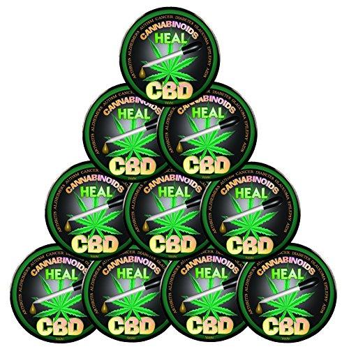 """Pack-10 Pin-Back Buttons 2.25"""", Words""""CBD Cannabinoids Heals"""""""
