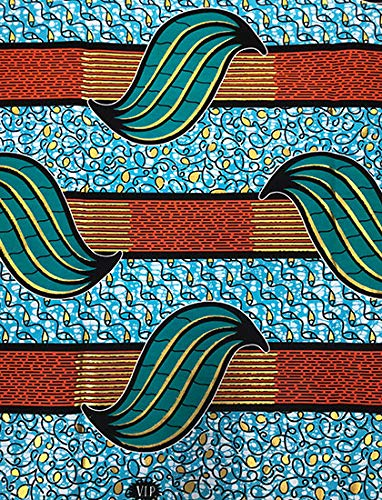 African Print Fabric African Ankara Wax Print 6 Yards 100% Cotton Geo with Metallic Print African Printed Dresses for Women & Men - Metallic Gold, Aqua Blue, Teal Green, Yellow, Brick