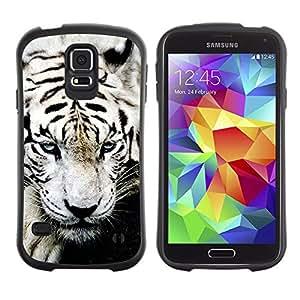 All-Round híbrido de goma duro caso cubierta protectora Accesorio Generación-I BY RAYDREAMMM - Samsung Galaxy S5 SM-G900 - Tiger White Paw Big Cat Cute Animal Black