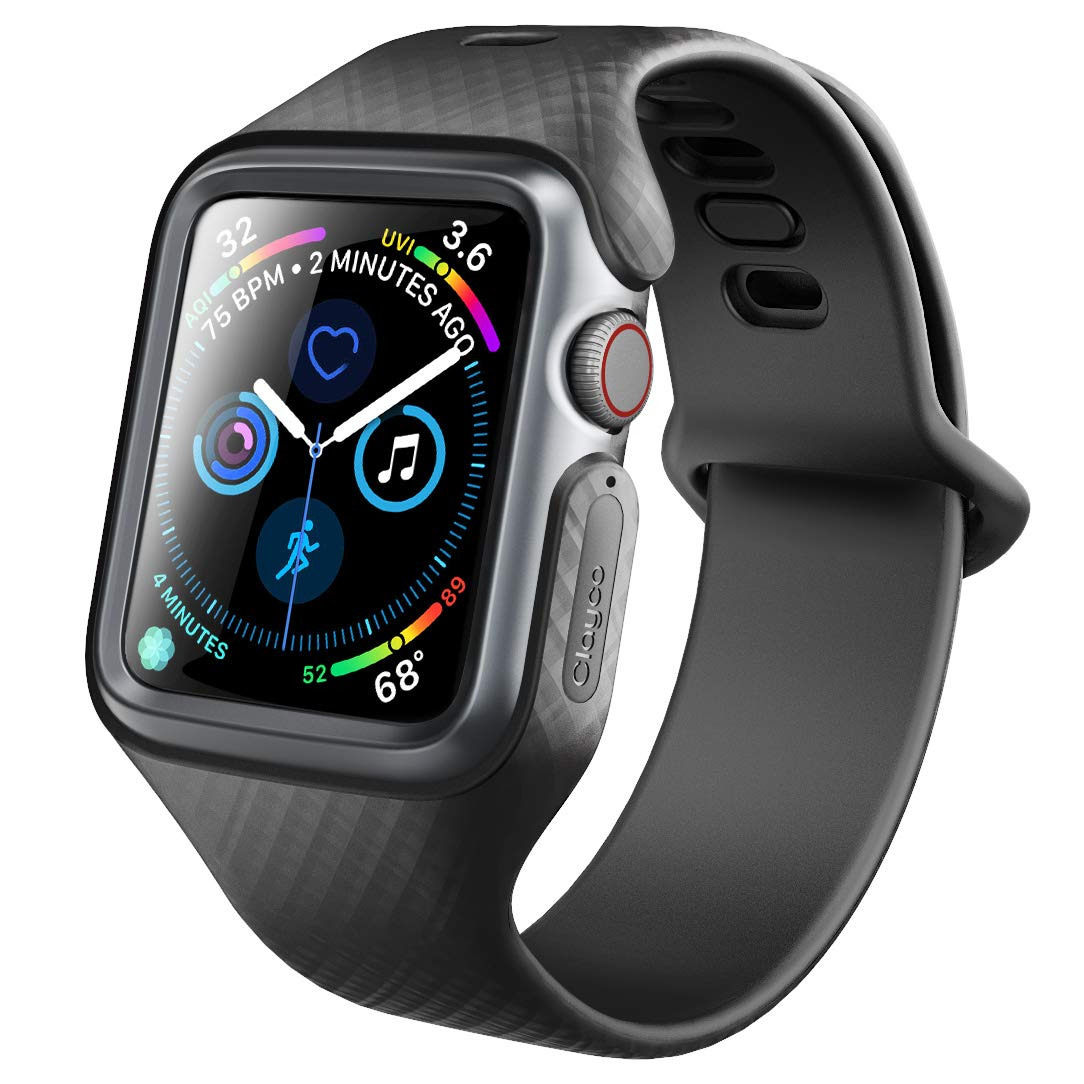 Clayco Compatible with Band 44mm Apple Watch Series 4, [Hera Series] Shock Resistant Ultra Slim Protective Bumper Case with Strap Bands (Black) by Clayco