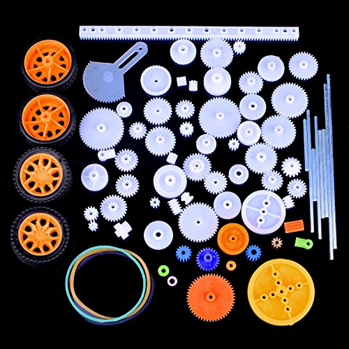 Quimat 78Pcs Plastic Gear Set with Various Gear and Axle Belt Bushings for DIY Car Robot Project QY17 (Assorted Plastic Gears)