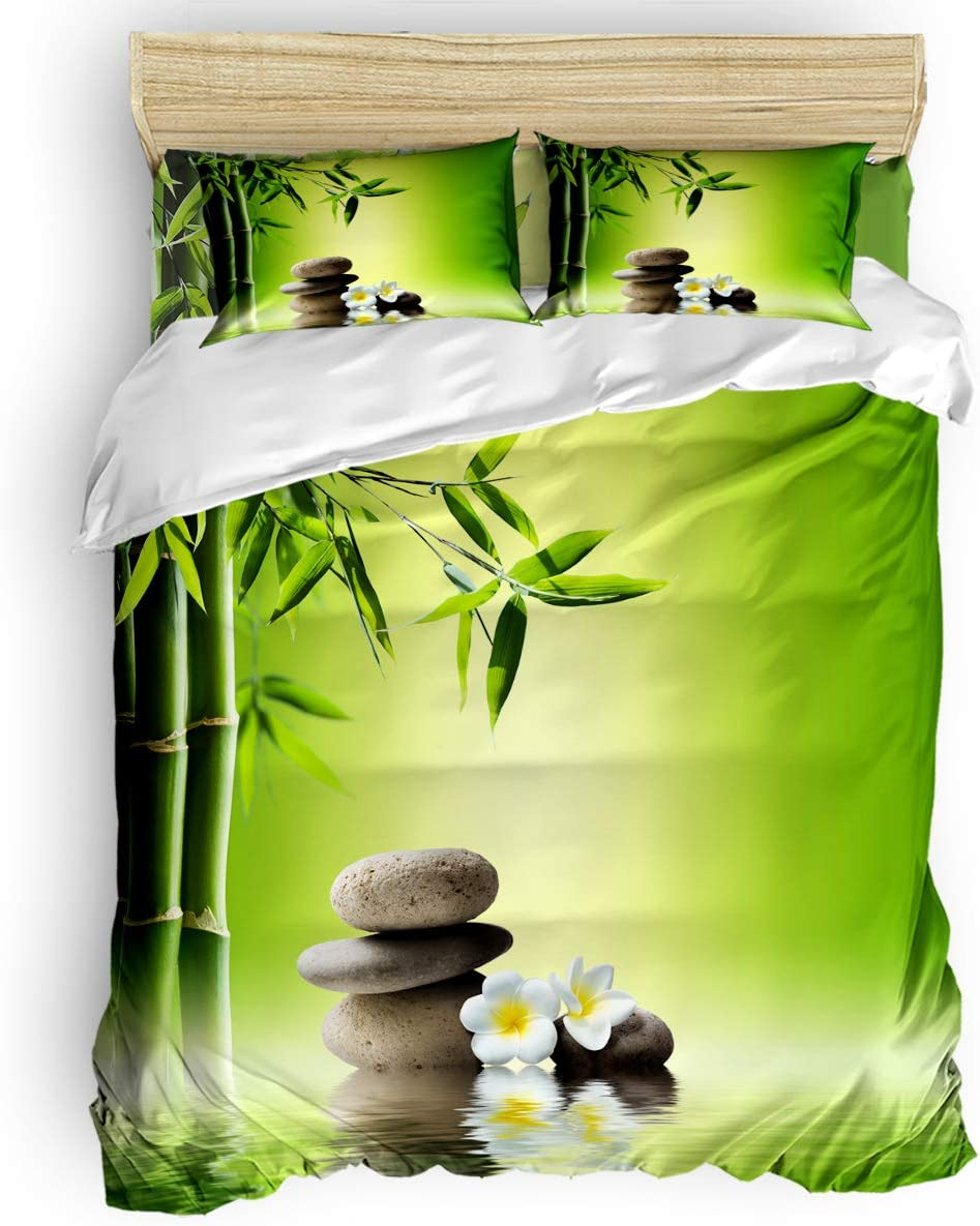 Duvet Cover 4 Piece Set California King Size - Ultra Soft Brushed Microfiber Fabric Japanese Zen Garden Bamboo Stone Plumeria Bedding Set with Zipper Closure & Corner Ties (Not Include Comforter)