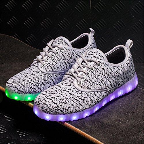 KALEIDO ShinyNight USB Lade 11 Farben LED Leuchten Schuhe Mode Turnschuhe Sportschuhe Für Herren Frauen Mädchen Jungen F-weiß