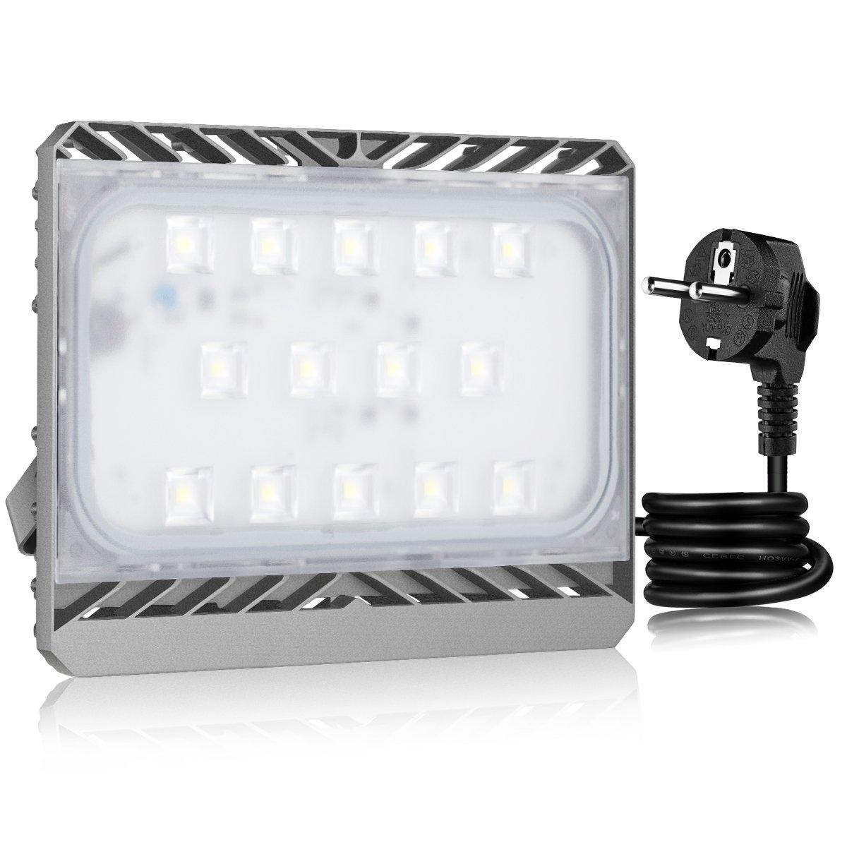 GOSUN® Super Hell 150W LED Fluter Außenstrahler 13500Lumen 230V IP65 CREE SMD5050 Kaltweiß, 36 Monate Garantie [Energieklasse A+] STASUN