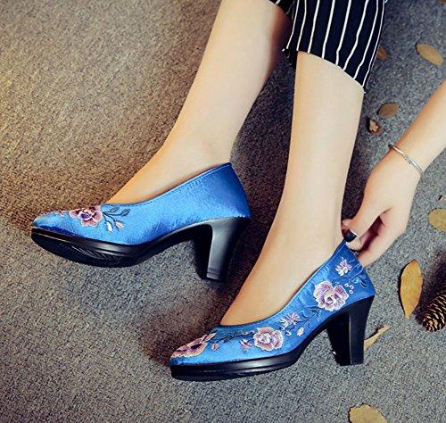Avacostume Scarpe Da Donna In Raso Di Lusso Con Tacco Alto Cheongsam Blu