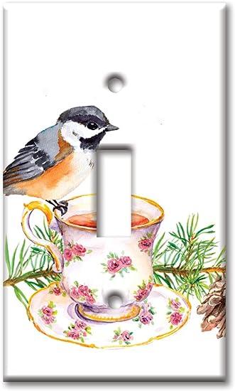 Art Plates Brand Single Toggle Switch Wall Plate Bird At Tea Time Amazon Com