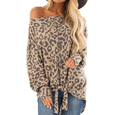 Women Tops Womens Leopard Print Tunic Blouse Tie Knot Henley Tops Loose  Fitting Plain Shirts Ladies Loose Long Sleeve at Amazon Women s Clothing  store  0f476218d