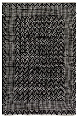 Fab Habitat, Recycled Cotton/Reclaimed Fibers - Flat Weave, Handwoven Floor Mat/ Area Rug, Allure, Black & Cream - 2' X 3'