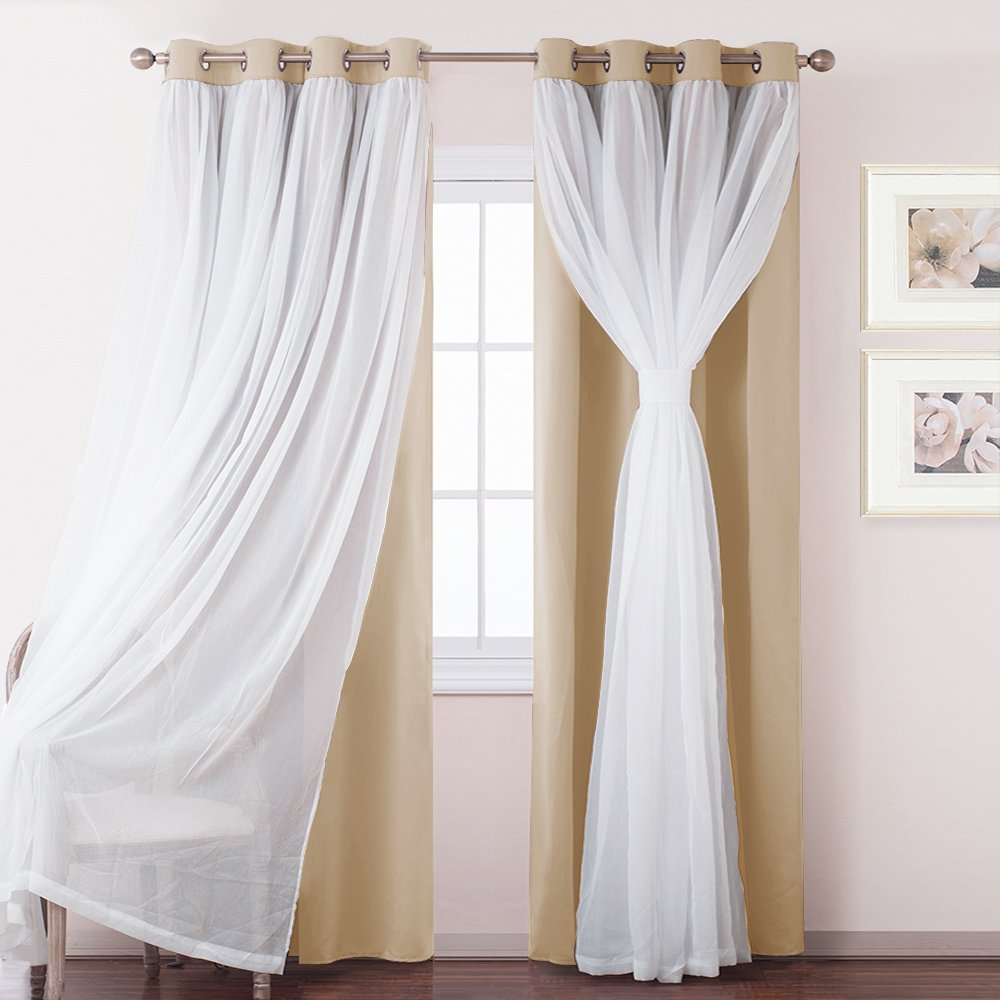 Beige Sheer Blackout Curtain Panels-PONY DANCE Mix & Match Thermal Insulated & Noise Reducing Voile x Blackout Draperies Curtains with Extra Tie-backs for Bedroom,52 by 84 inches,2 Pcs