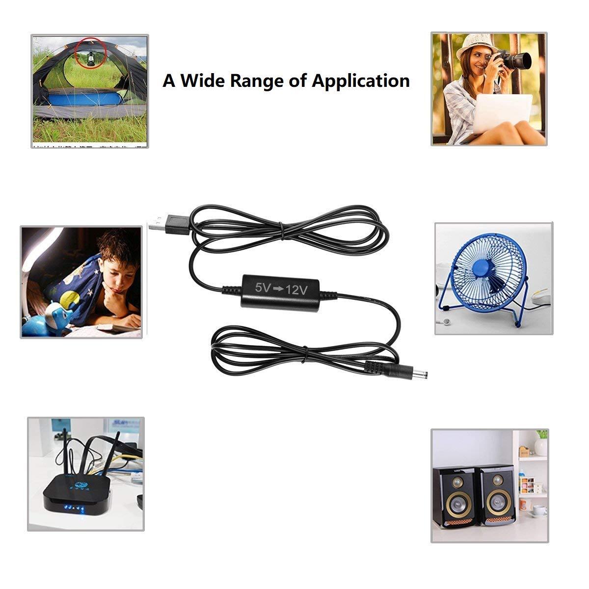 Kuncan 5ft Usb 5v To Dc 12v Step Up Converter Cable Electronics Technology 5vdc 12vdc Lt1070 Boost Circuit Port Voltage 55 X 21mm Connector