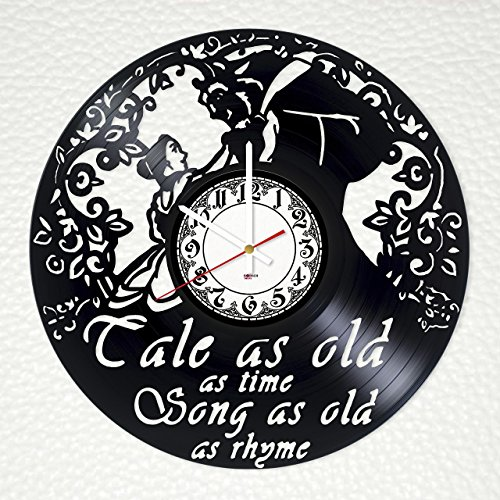 Beauty and The Beast Handmade Vinyl Record Wall Clock - Get