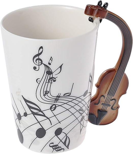 BESTonZON Taza del diseño de Las Notas Musicales Taza de cerámica ...