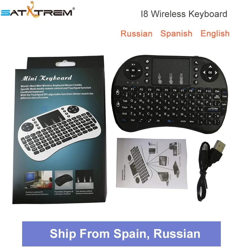 Calvas Russian English Spanish 2.4GHz Wireless Mini i8 Keyboard 3 versions Backlit Keyboard For Android TV BOX Color: Russian Keyboard