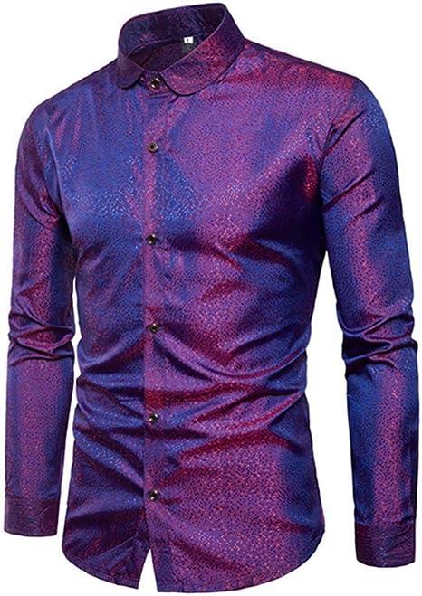 OBHDGVWN Camisa de Vestir de satén de Seda para Hombre Moda Tragar Cuello Camisa de Manga Larga Hombres Discoteca Fiesta Boda Camisa Informal Chemise Homme: Amazon.es: Deportes y aire libre